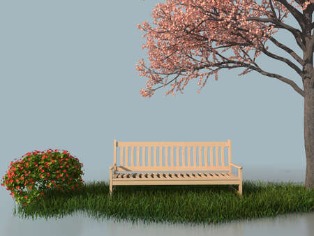 3d bench under a flower blooming tree in a white stage