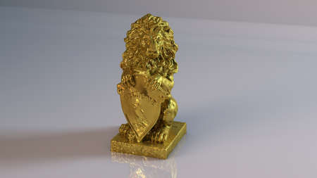 instinct: Golden 3D object (lion) inside a white reflected stage with high render quality to be used as a logo, medal, symbol, shape, emblem, icon, business, geometric, label or any other use