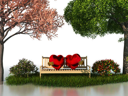 lone: 3D valentine view for love and romance isolated on a white background with beautiful summer and spring trees. Stock Photo