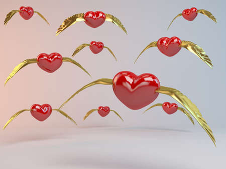 flying kiss: 3d Flying Hearts with golden wings