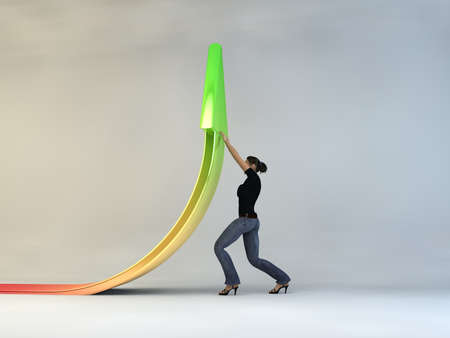 sales growth: 3d woman character sales growth, on a white background, 3d image