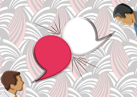 talkative: Dialog - Speech bubbles with two faces Stock Photo