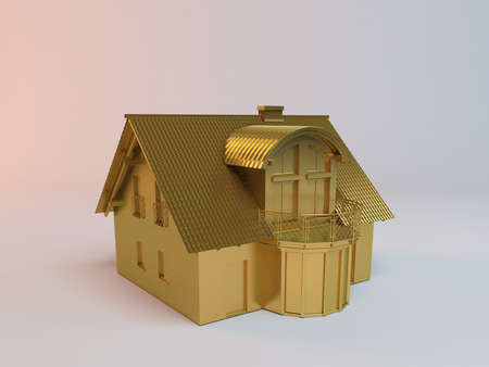 stage door: golden 3D simple house on a white background Stock Photo