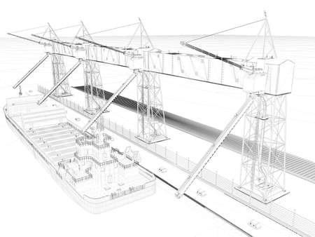 persepective: Perspective 3D render of a wireframe. blueprint background