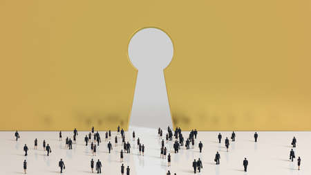 kingdom: Group of tiny business men and women people walking into a gate shaped like a keyhole Stock Photo