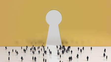 kingdom of heaven: Group of tiny business men and women people walking into a gate shaped like a keyhole Stock Photo