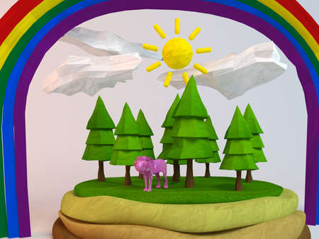 the strongest: 3d lion inside a low-poly green scene with sun, trees, clouds and a rainbow
