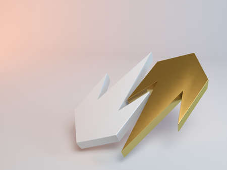 two dimensional shape: yellow and white 3d arrows render inside a stage Stock Photo