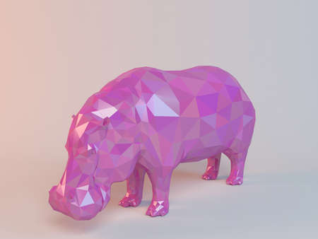 low poly: 3D pink low poly (Hippo) Stock Photo