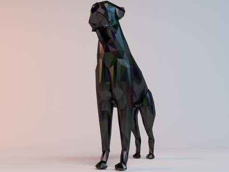 3D black low poly (dog) Reklamní fotografie
