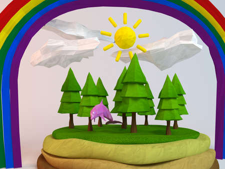 pink dolphin: 3d dolphin inside a low-poly green scene with sun, trees, clouds and a rainbow Stock Photo