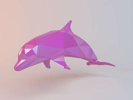 pink dolphin: 3D pink low poly (dolphin)