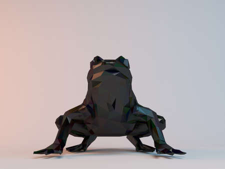 low poly: 3D black low poly (frog) Stock Photo