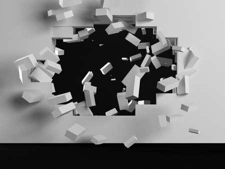 raze: Destruction of a white brick wall 3d render Stock Photo