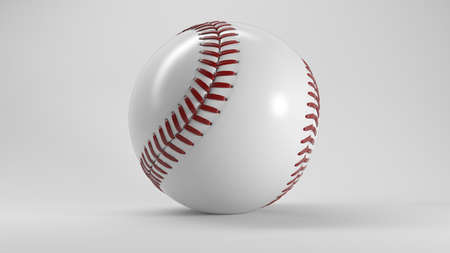 major league: Single Baseball Ball with Shadow on White Background 3D Illustration