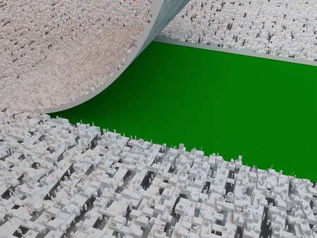 land development: Urban development, make more green space concept Stock Photo