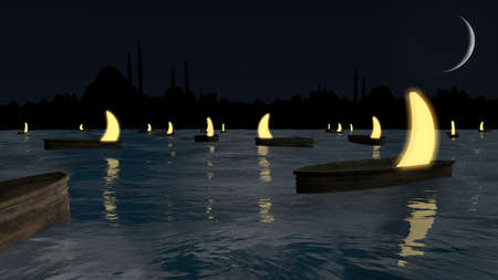 Night scene in the middle of the ocean with illuminated moons inside the boats.
