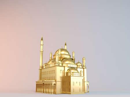 3d object: Golden 3D object (mosque) Stock Photo