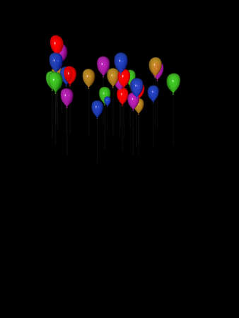 colored balloons: Several flying colored balloons rendered with different speed.