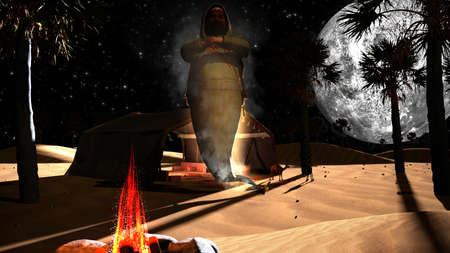 aladin: 3D genie in an Arabian desert with palm trees, full moon and camels