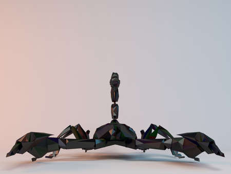 low poly: 3D black low poly Scorpion