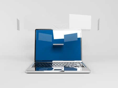 consignor: 3d laptop with arry envelopes above it