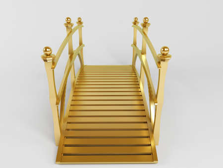 twinning: isolated 3d golden bridge inside a white stage front view