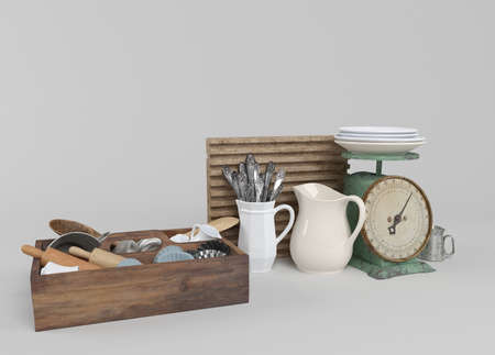 bits: Kitchen tools with wooden cutting board and other kitchen bits and pieces. 3D illustration Stock Photo
