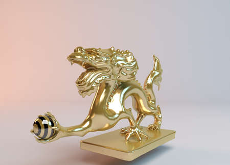 Golden 3d dragon catching the ball of power inside a white stage