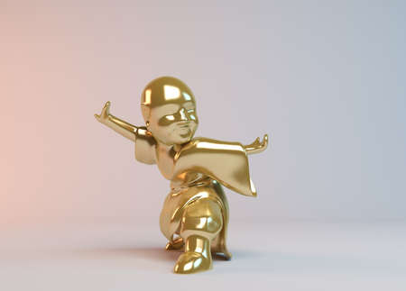 icon idea idiom illustration: Golden 3d boy kung Fu master demonstrating martial arts inside a white stage