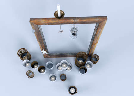 holders: many types of candle holders with wooden frame.