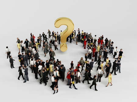 3d characters around a golden question mark inside a white stage