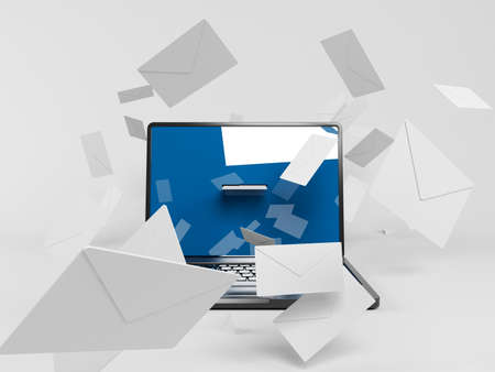 consignor: 3d laptop with many white envelopes flying around Stock Photo