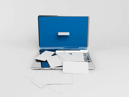 consignor: 3d laptop with many white envelopes on it Stock Photo