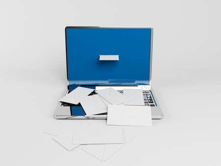 telegrama: computadora portátil 3d con muchos sobres blancos en ella
