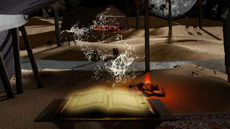 Holdy コーラン粒子、ラクダ、満月、火とアラビアン テントと夢のような夜の砂漠 写真素材