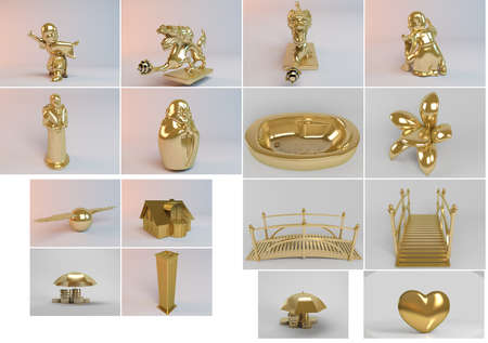 martial ways: Big 3d collection of golden objects rendered with high quality and details which can also be isolated easily.
