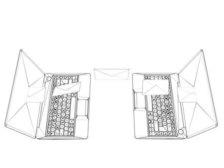 building planners: laptop wireframe illustration isolated on white background