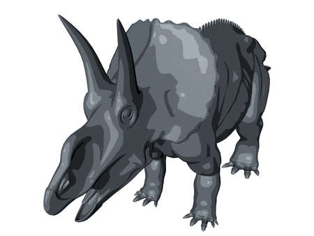 cretaceous: 3d sketch render of a  dinosaur, which lived during the Cretaceous period, isolated on white. Stock Photo