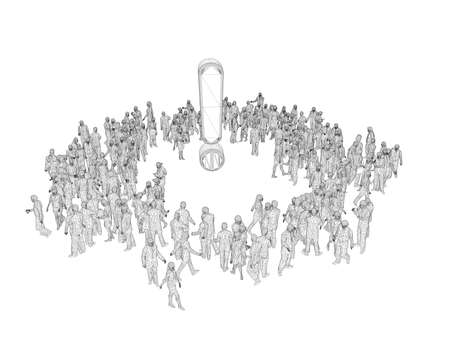 wonders: 3d people wireframe around a symbol isolated on white background