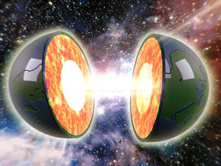 imagine a science: illustration of a sliced earth and an explosion in the middle 3d effect