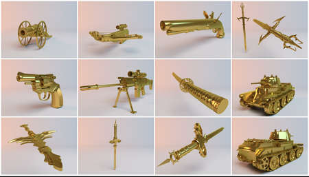 armaments: Golden imaginary 3d weapons collection with much equipments and high quality renders of guns, swords, tank, canon and a rifle.