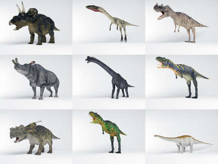 enormous: 3D collections of many Dinosaur with different kinds and colors in one image