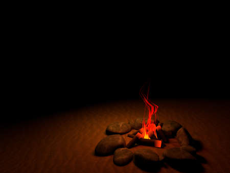 guiding light: 3d fire in the middle of the night in the desert Stock Photo