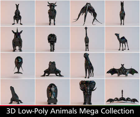 running camel: 3d low poly animals collections with different kinds such as lion a horse a camel an elephant an much more
