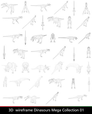 3d wireframe dinasour collection isolated on white background