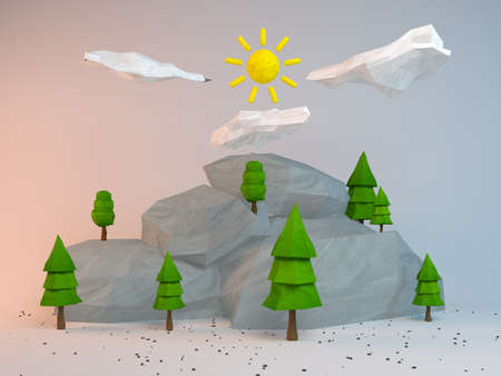 group of objects: 3d group of low poly stylized trees and rocks. Objects in the spot of soft light. Colorful cartoon geometric elements with realistic shadows on white background.
