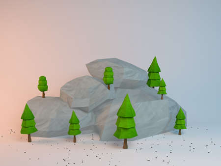 rock stone: 3d group of low poly stylized trees and rocks. Objects in the spot of soft light. Colorful cartoon geometric elements with realistic shadows on white background.