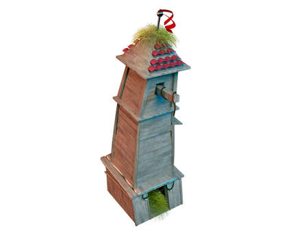 cascade mountains: 3D fantasy tower building with hay and woods and a red flag Stock Photo