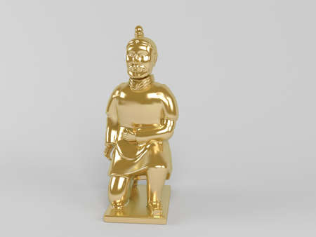 commendation: 3d golden statue painted with gold in on a white scene background